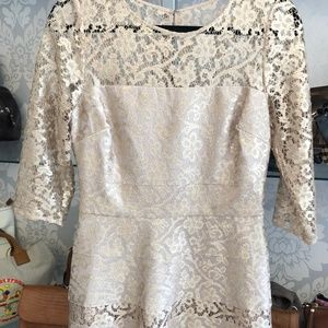 KAY UNGER Metallic Gold Lace Overlay Dress